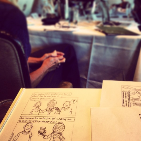 This actually involved live-comic drawing during the meeting!