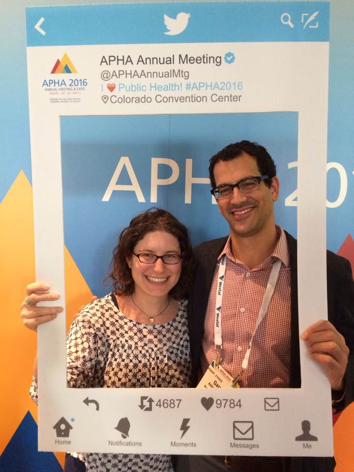 Gary cheesing at the APHA photo booth with good friend Sarah Lipton-Lubet from National Partnership for Women & Families