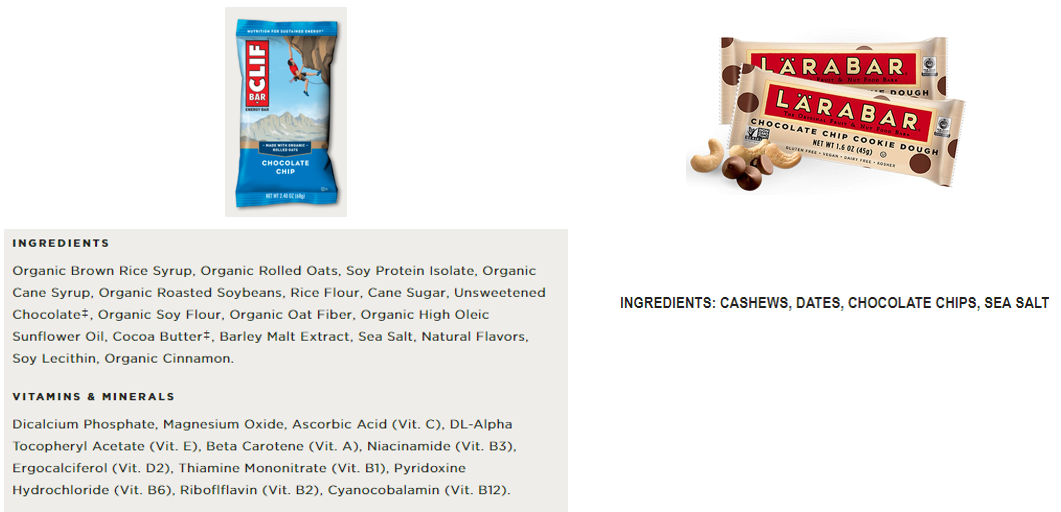 Screenshots from Clif Bar's and Larabar's websites.  Can you believe the first, fourth, and seventh ingredients in the Clif Bar are different types of sugar?!?
