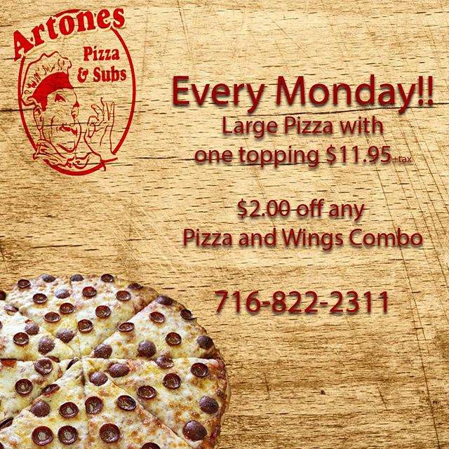Monday is Pizza Day!! #pizza #pizzanight #buffalo #senecast #artones
