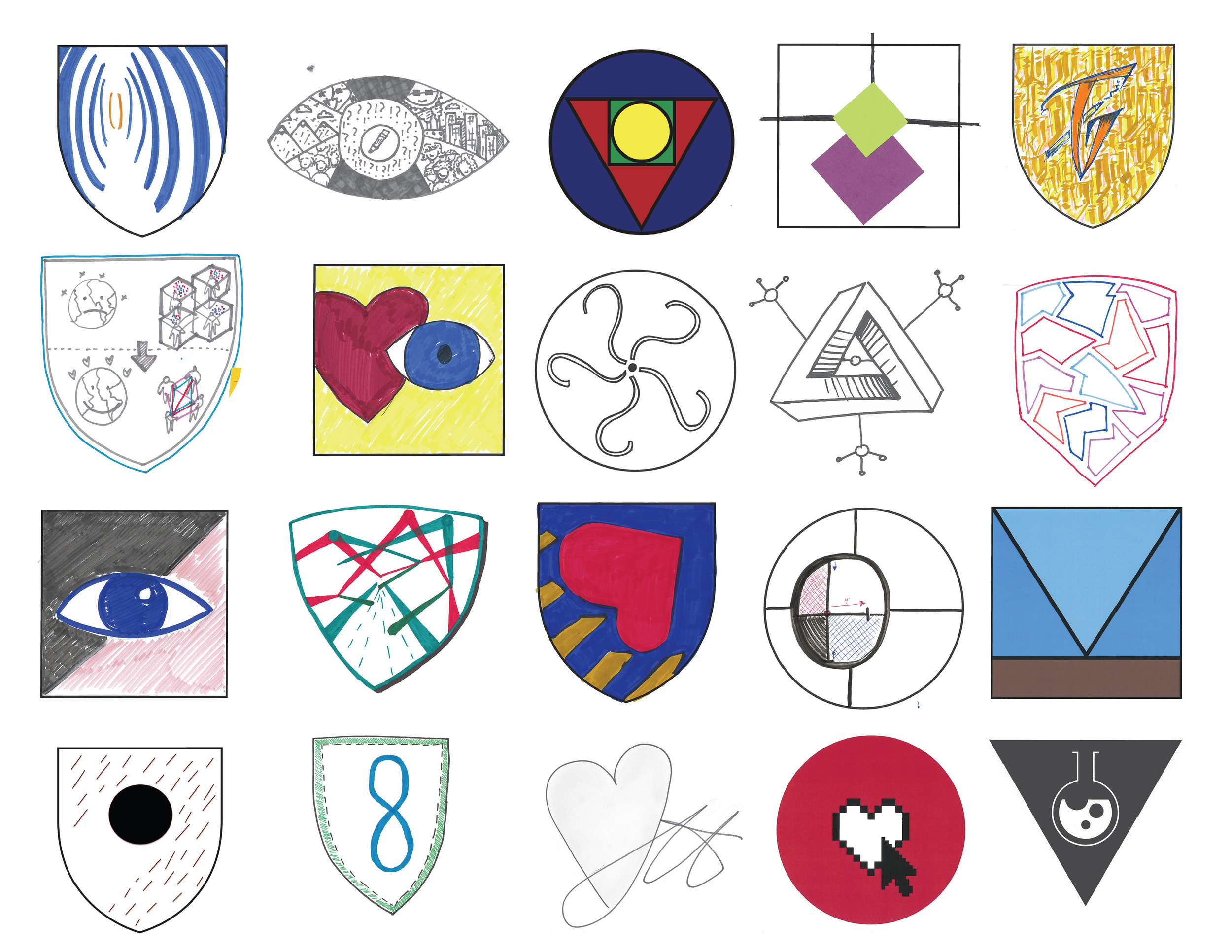 Hero Emblems representing the values and superpowers of each designer