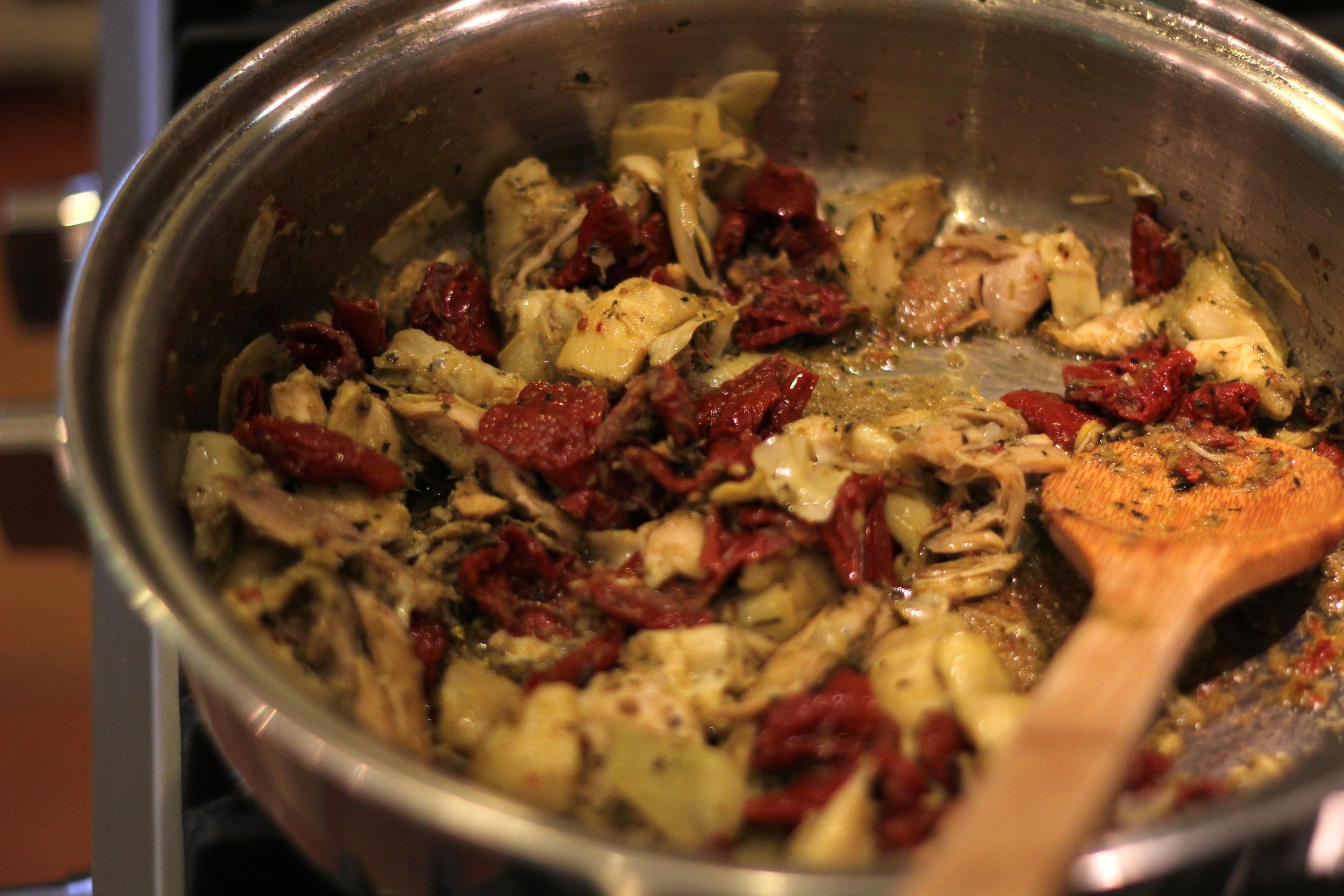 artichokes, sundried tomatoes pesto