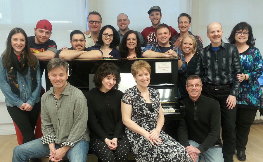 The entire company of The Donner Party Table Reading