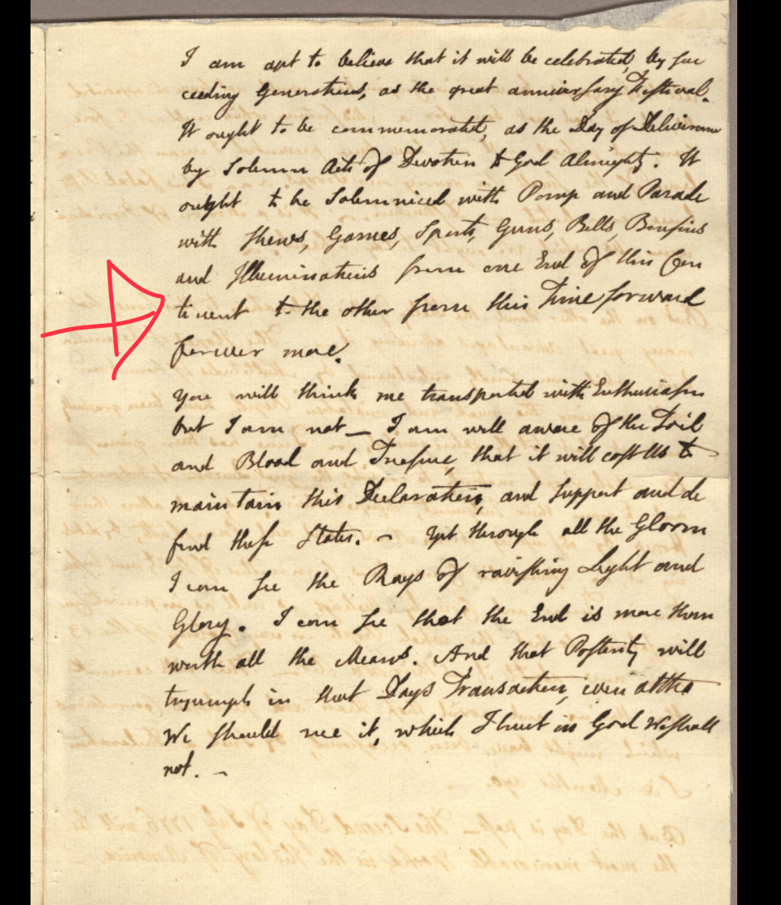 """The red arrow is pointing to the line where Adams calls for """"...illuminations from one end of this continent to the other from this time forward forever more.""""   Source:  Adams Family Papers: An Electronic Archive.  Massachusetts Historical Society"""