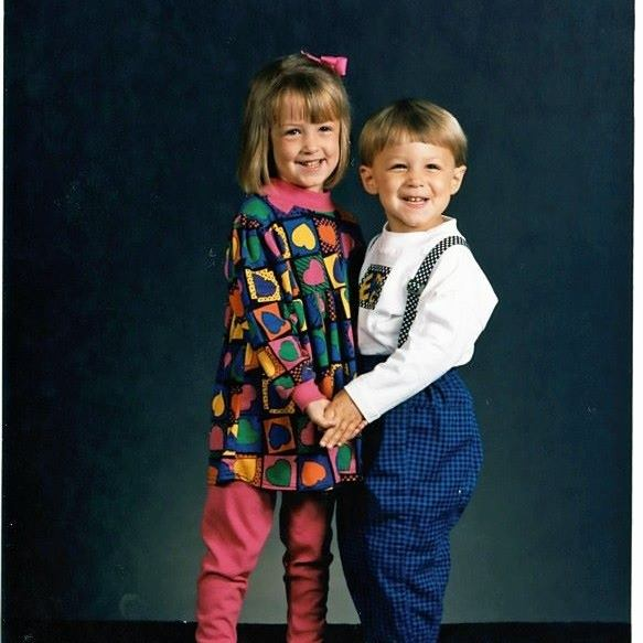 Chris and his sister Kaley, a la 1992. Also, suspenders? Parachute pants?