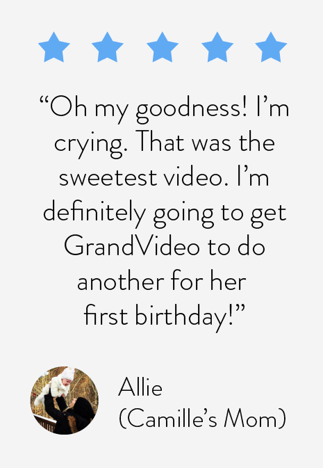 Oh my goodness! I'm crying. That was the sweetest family video. I'm definitely going to get GrandVideo to do another for her first birthday!