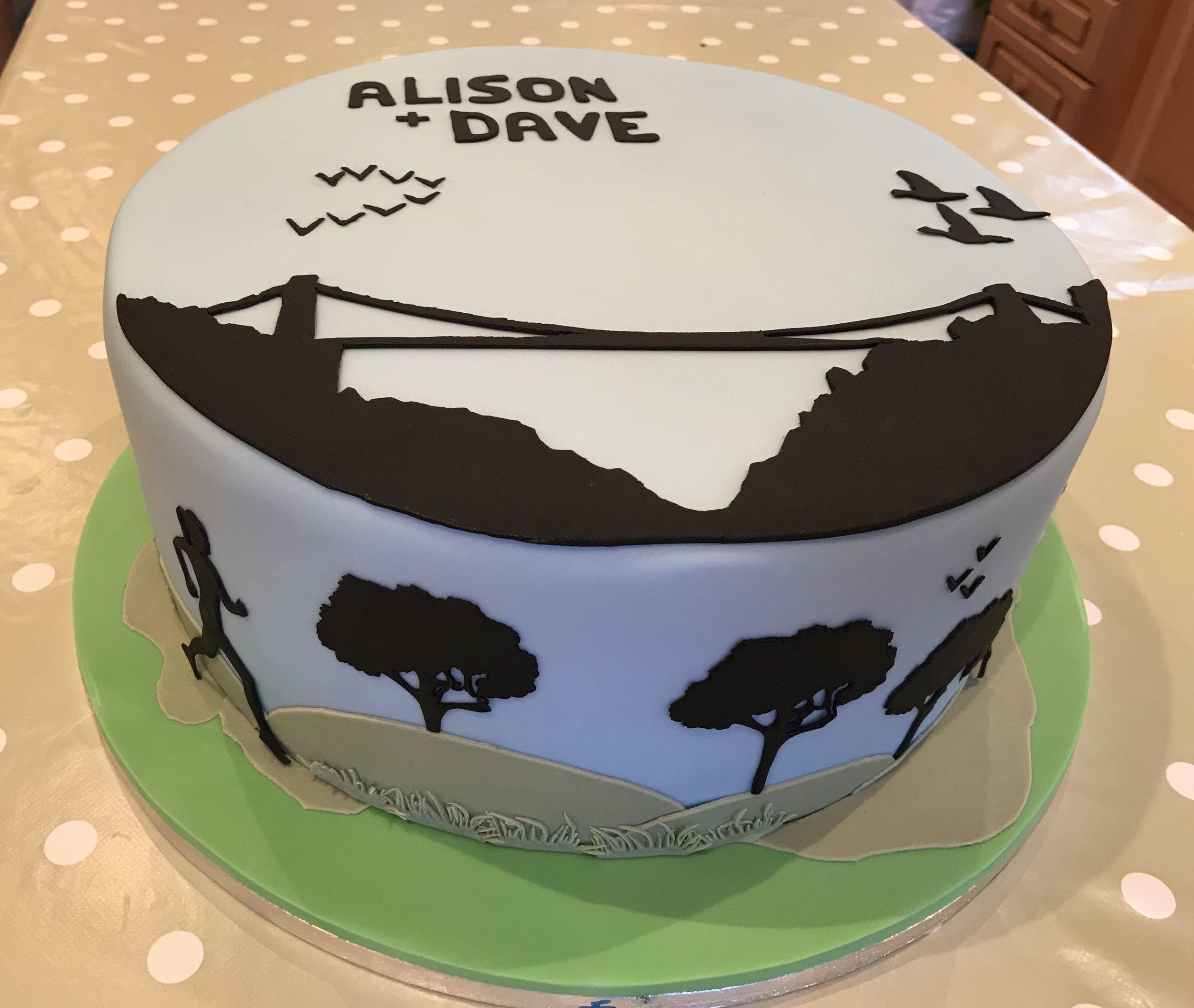 Silhouette running cake, with Bristol suspension bridge.