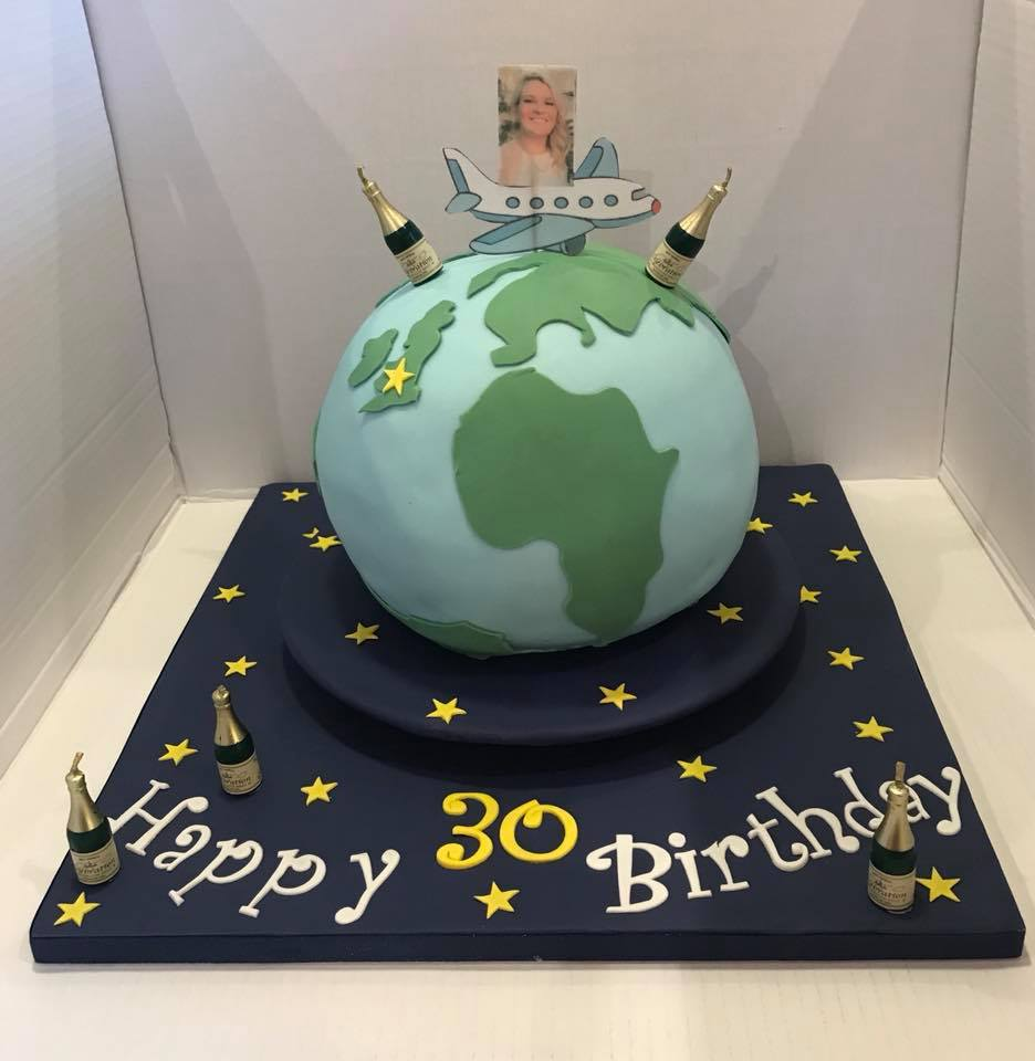 Spinning globe, 30th Birthday cake for Hannah!