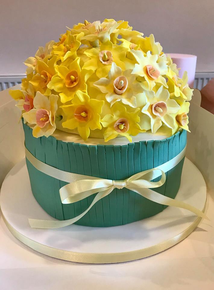 Handmade sugar daffoils cake, delivered to Usk.