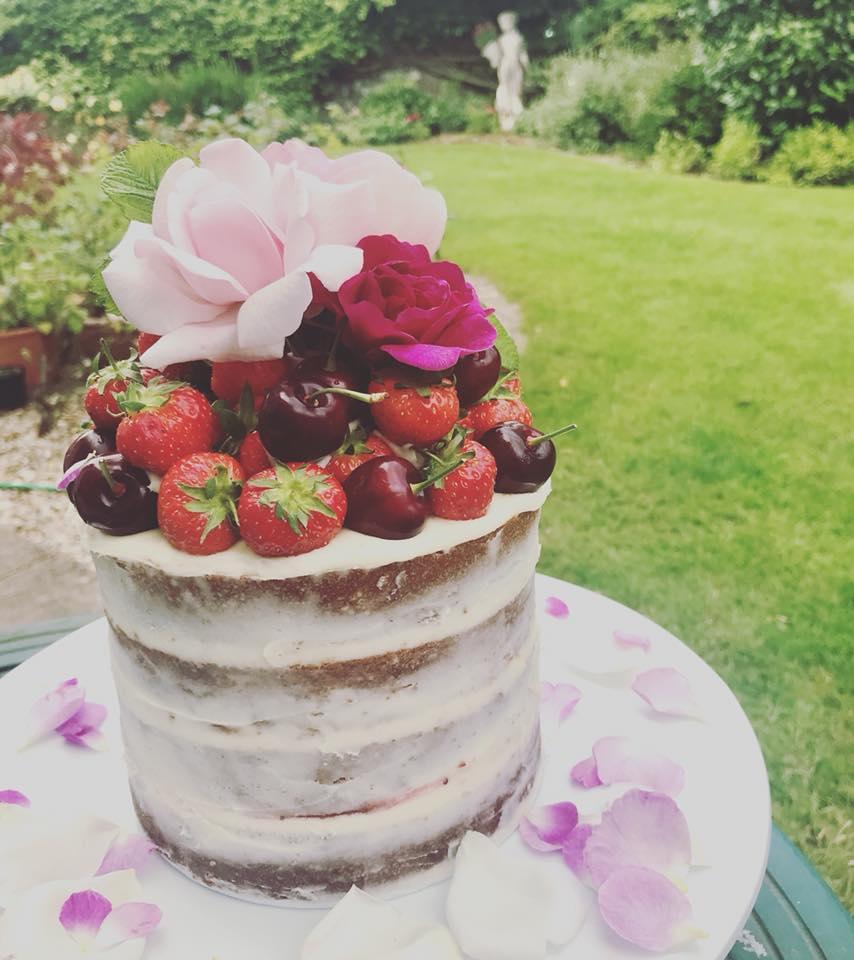 Fresh berries and flowers birthday cake, Monmouthshire.