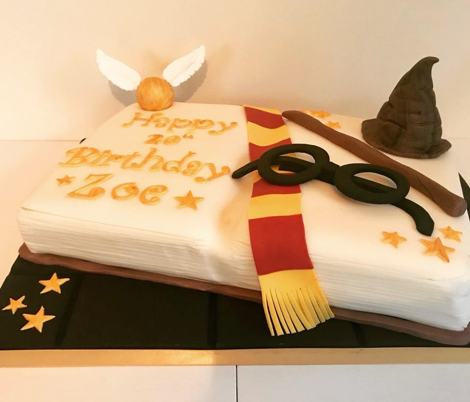 Harry Potter open book cake! Delivered as a surprise birthday cake to Tutshill, Chepstpw.