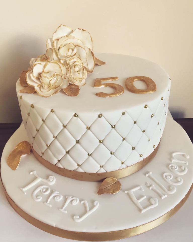 Golden Wedding Anniversary cake, Bristol.