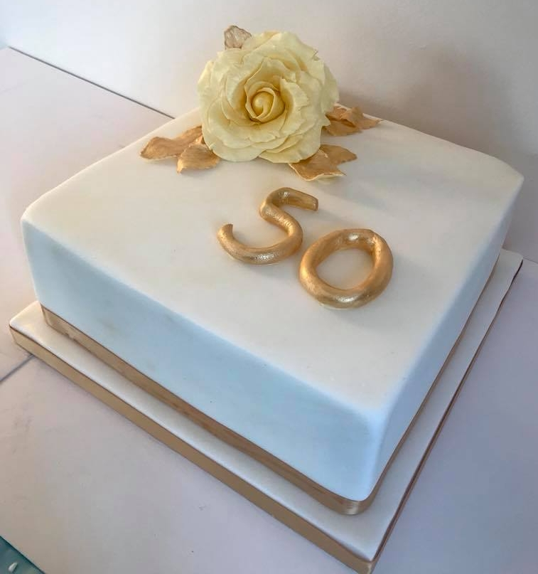 Golden Wedding Anniversary cake, Monmouthshire.