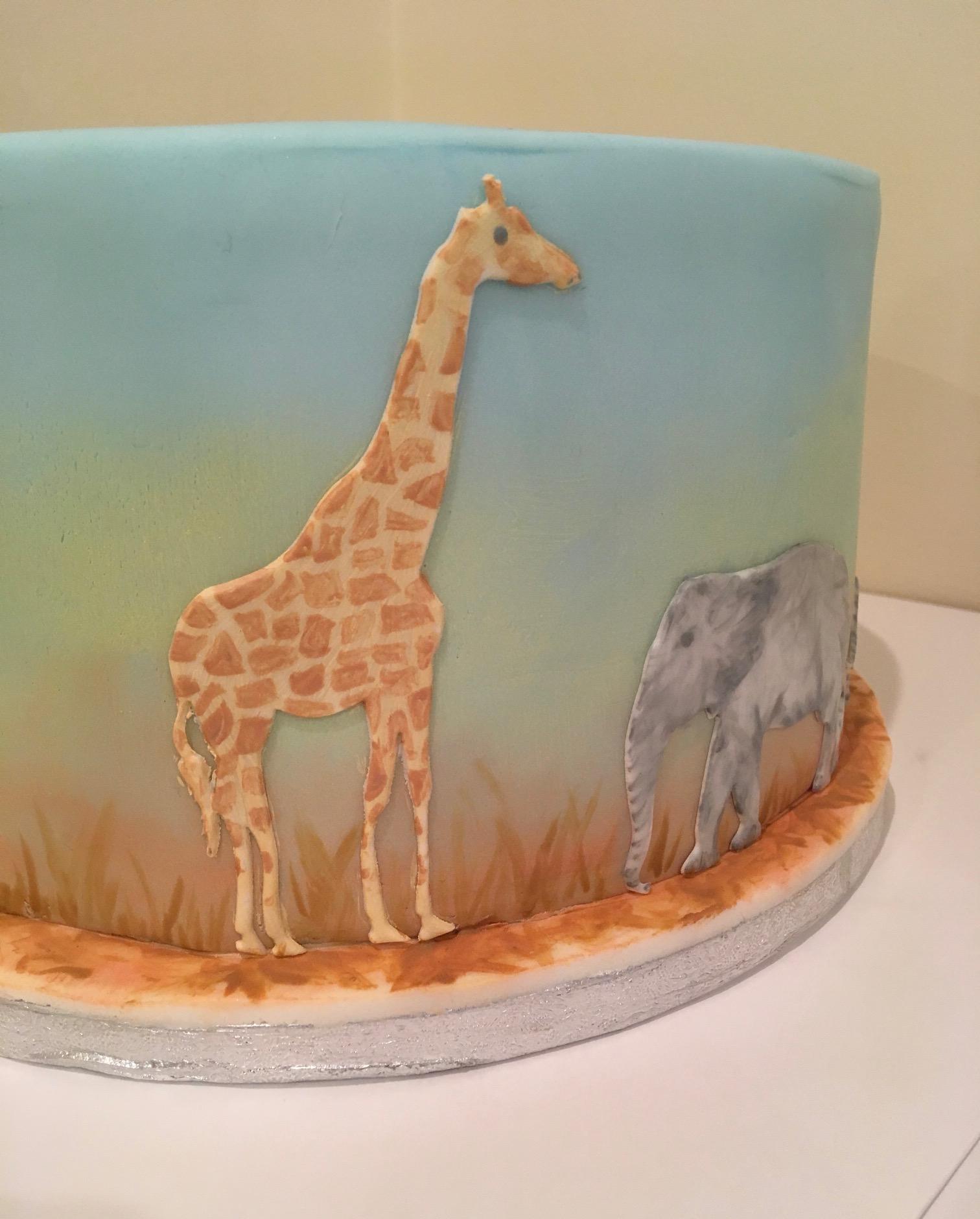 Painter African safari cake