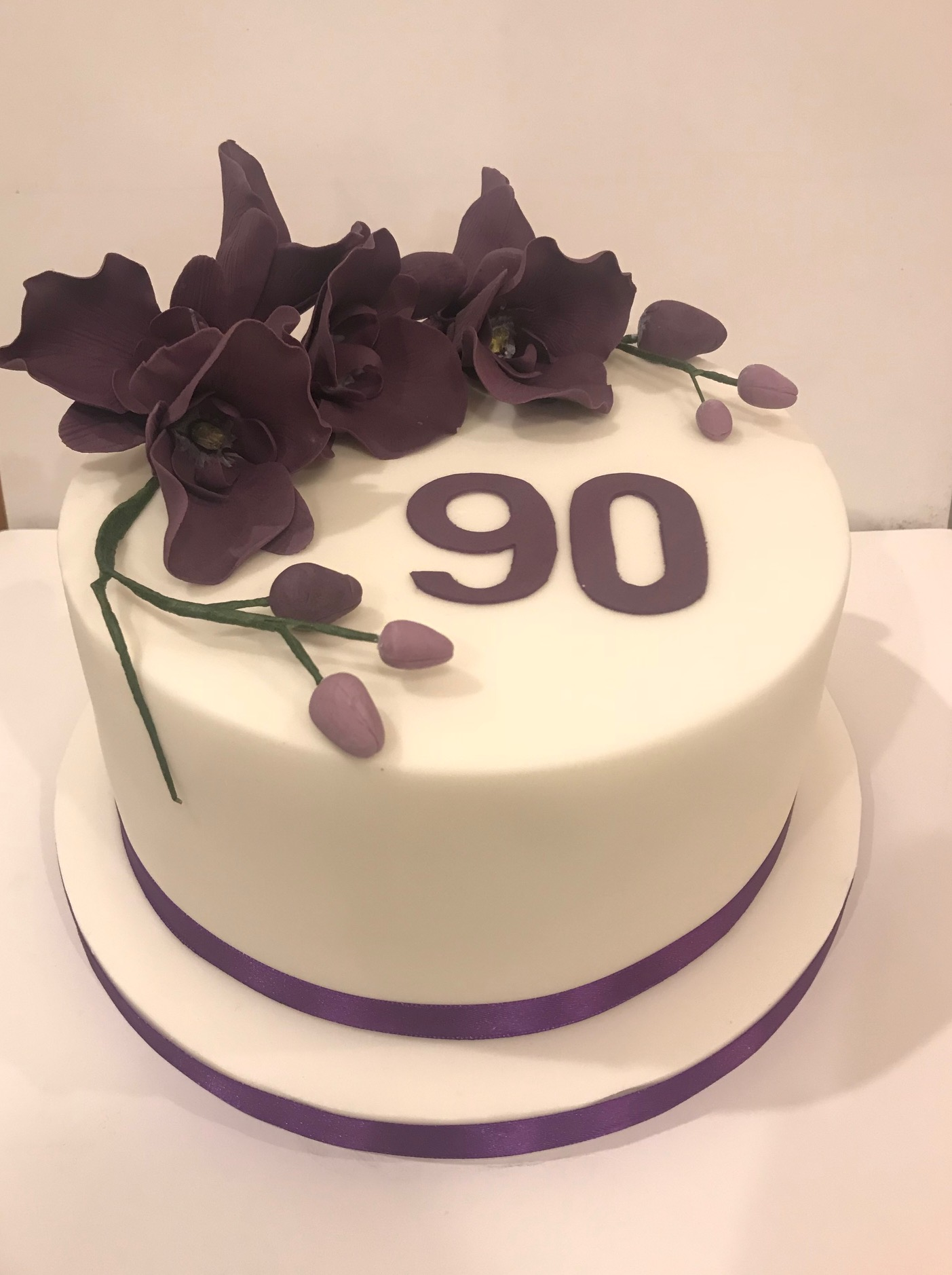 90th birthday Orchid cake, St.Arvans, Chepstow.