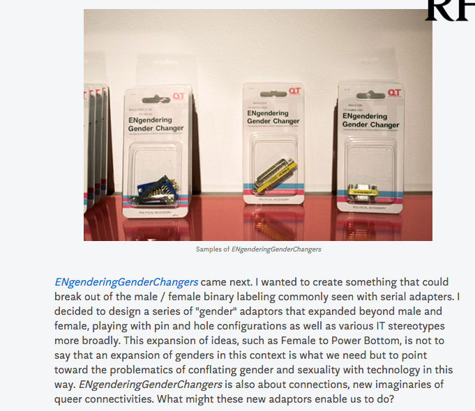 """""""But to point toward the problematics of conflating gender and sexuality with technology in this (binary) way"""""""