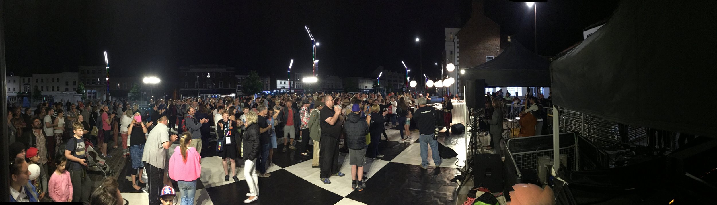 Audiences with live band at the end of The Ball in Stockton