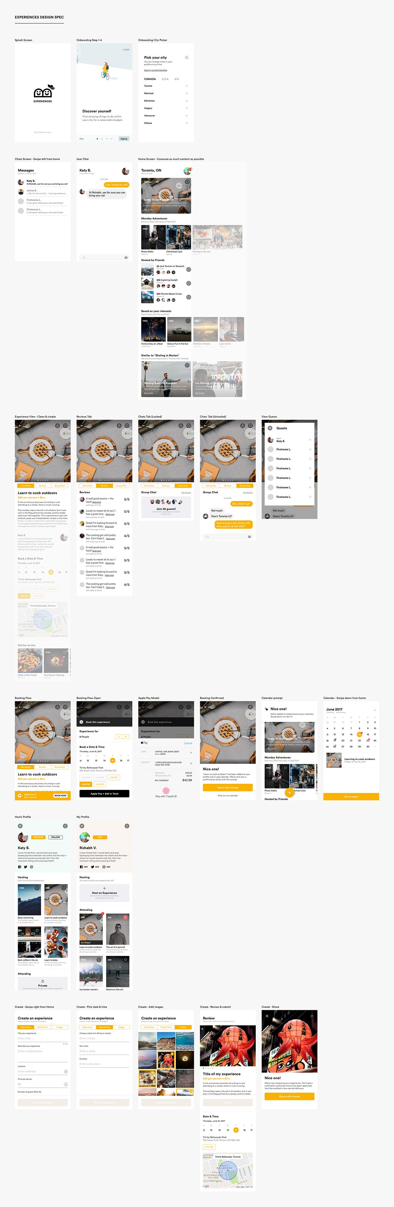 Experiences Design Language and Screens