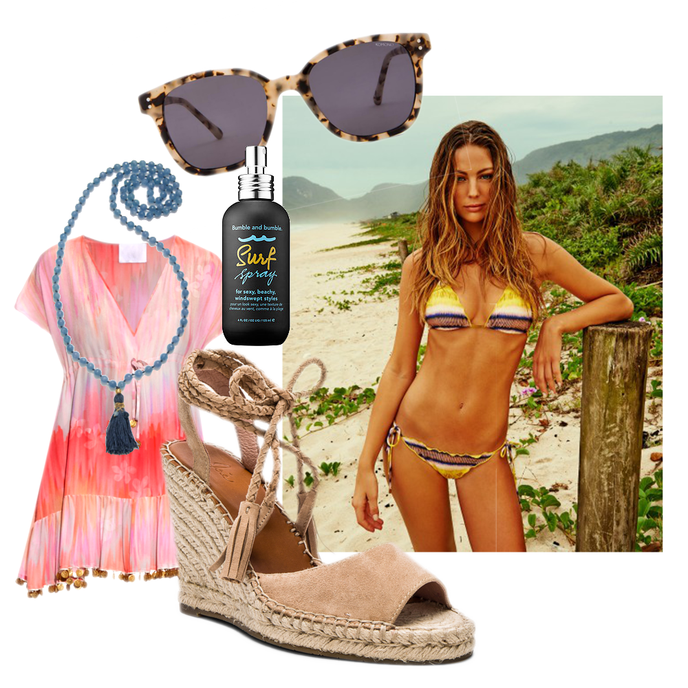 Komono Crafted Renee  Sunglasses  $120 // Joie Phyllis Heel  Wedges  $295 // VIX Zaz Ripple Bikini  Top  $73.60 and  Bottom  $75.20 // Satya Gold Angelite And Blue Topaz Mala - Many Truths  Necklace  $249 // Bumble and Bumble  Surf Spray  $27 //