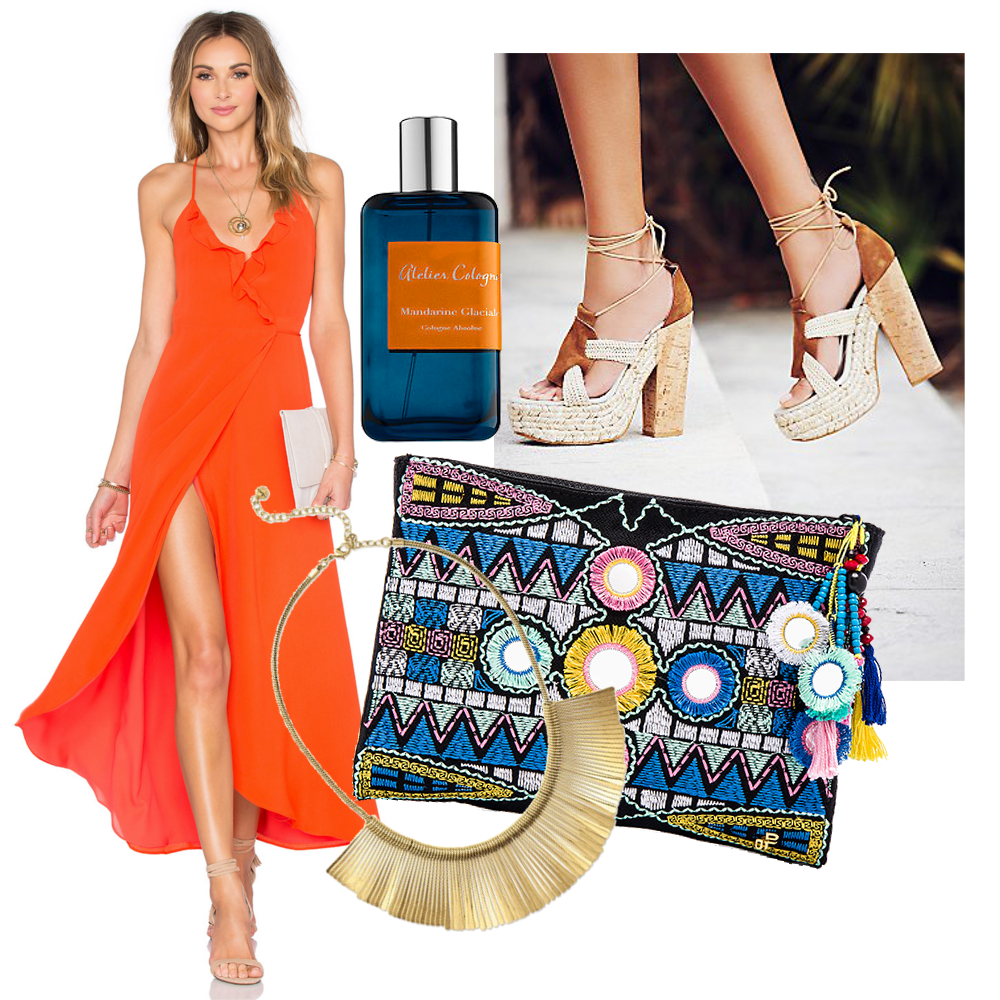 Free People High Society  Heel  $198 // Pilyq Embroidered  Pouch  $66 // Stella & Dot Essential Fringe  Necklace  $55 // Lovers + Friends Nostalgia Maxi Dress $210 // Atelier Cologne  Collection Azure - Mandarine Glacial