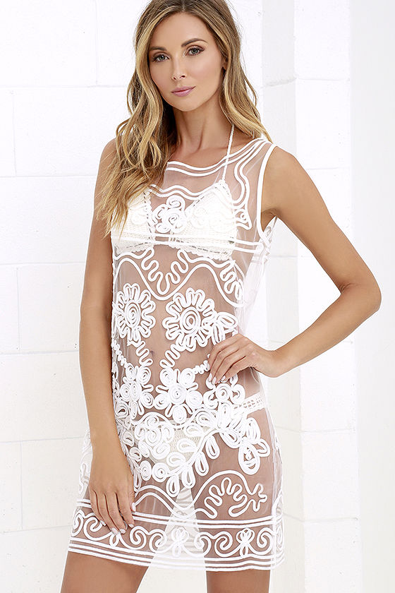 Lulu's Sun and Dance Ivory Mesh Cover Up $39