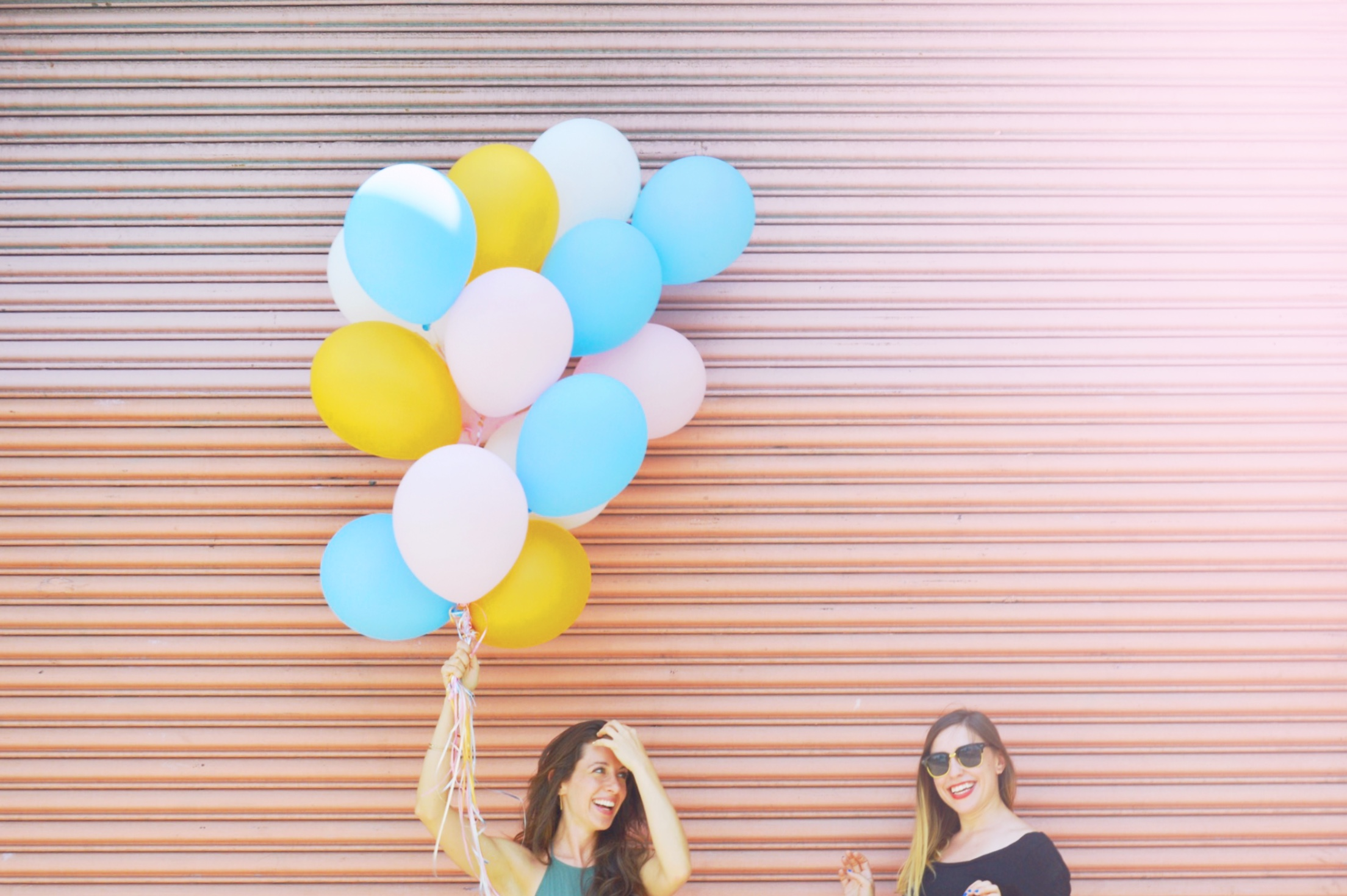 Engagement shoot with balloons.