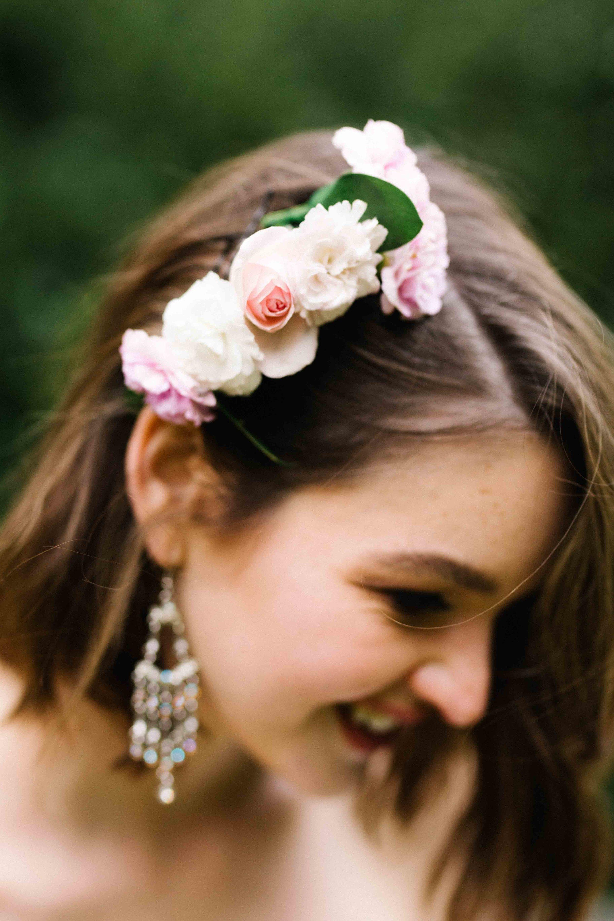 Dancing & Dessert Wedding Stylist Hair Flowers
