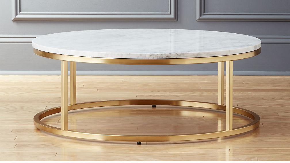 CB2 smart round marble brass coffee table $699