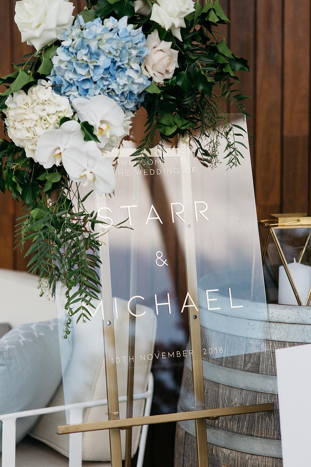 Dancing & Dessert -modern acrylic Wedding welcome sign