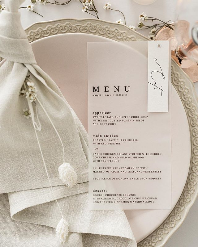 Completely obsessed with these vellum menus by the talented @designs.by.a #styledbyyourstruly