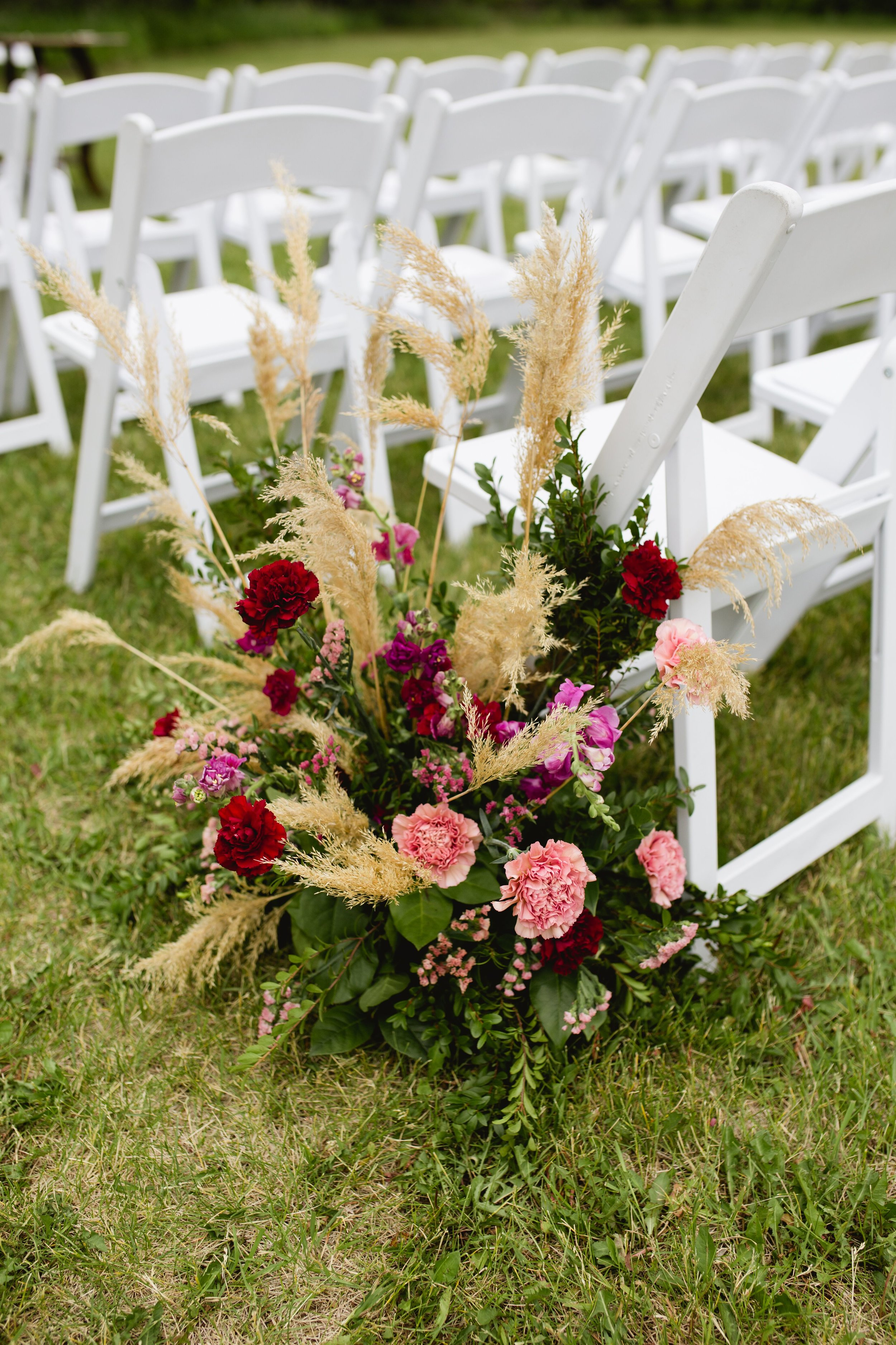 Beautiful wedding ceremony flowers