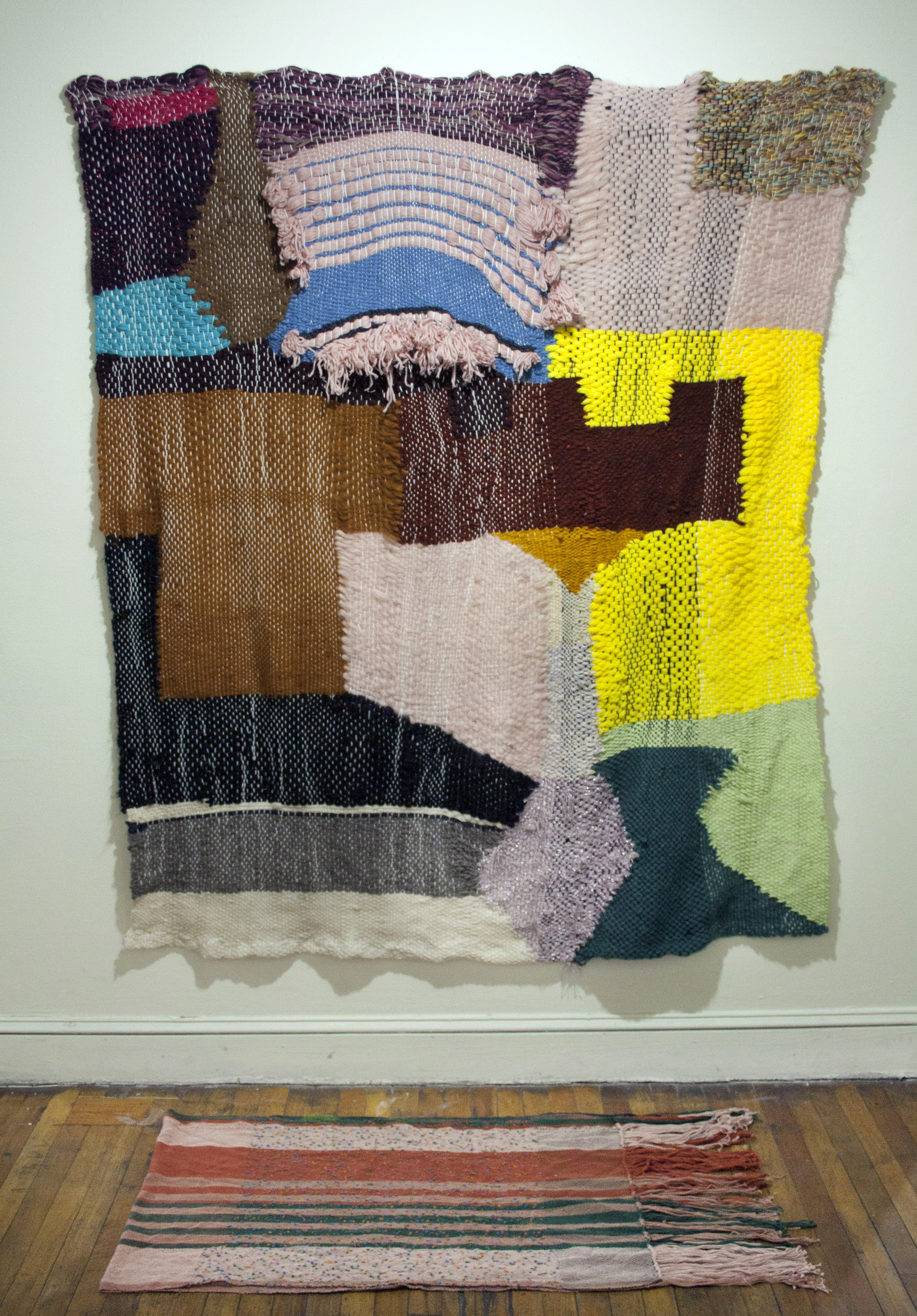 strange terrain tapestry weaving 5x7'  stati(c)s handweaving 8x2'