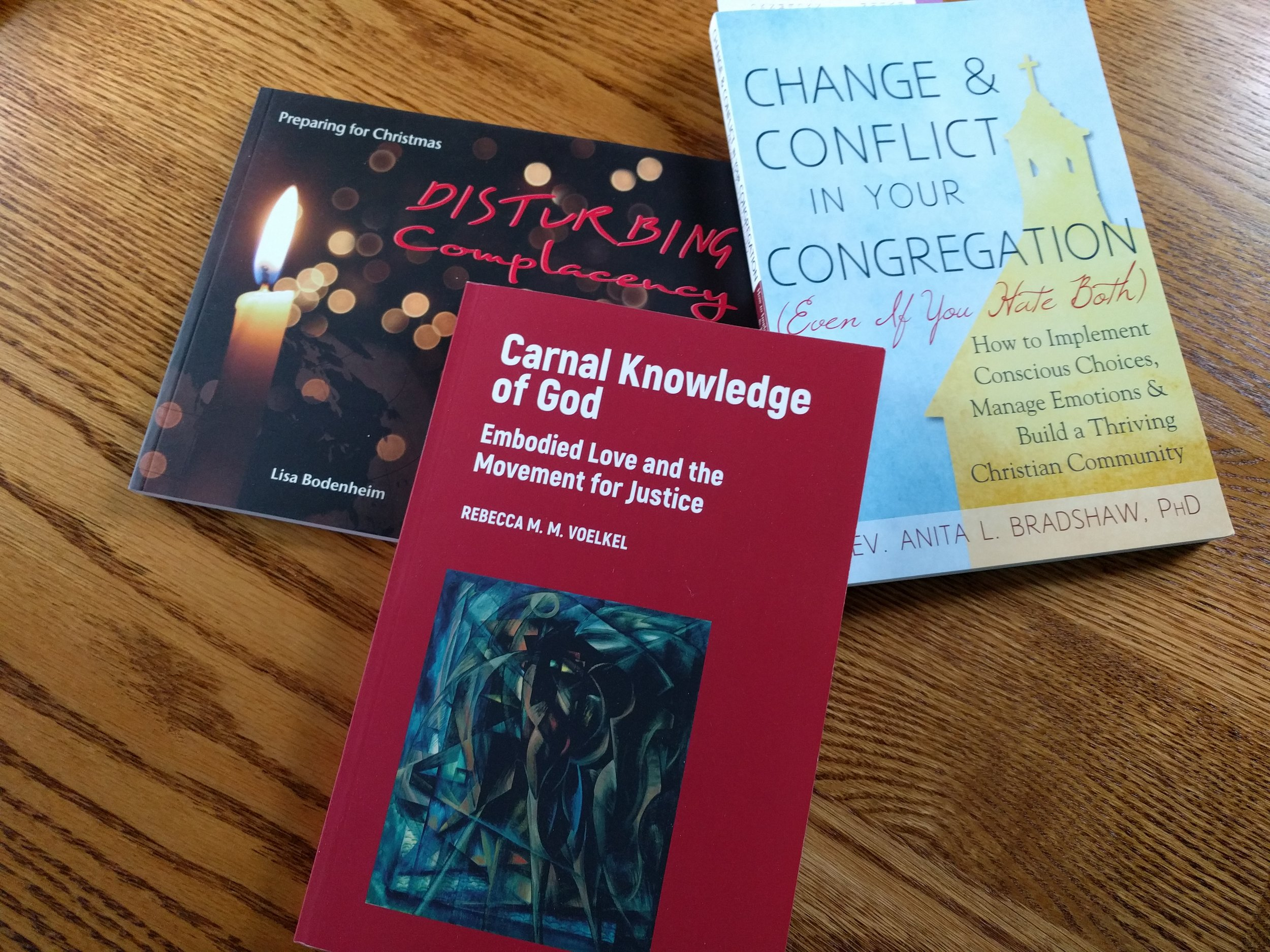 Change and Conflict in Your Congregation (Even if You Hate Both)  by Rev. Dr. Anita L. Bradshaw,  Carnal Knowledge of God: Embodied Love and the Movement for Justice  by Rev. Dr. Rebecca M.M. Voelkel, and  Disturbing Complacency: Preparing for Christmas  by Rev. Lisa Bodenheim.