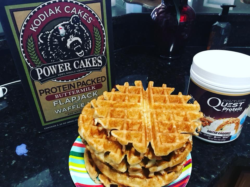 Kodiak Cakes/Quest Protein Waffles