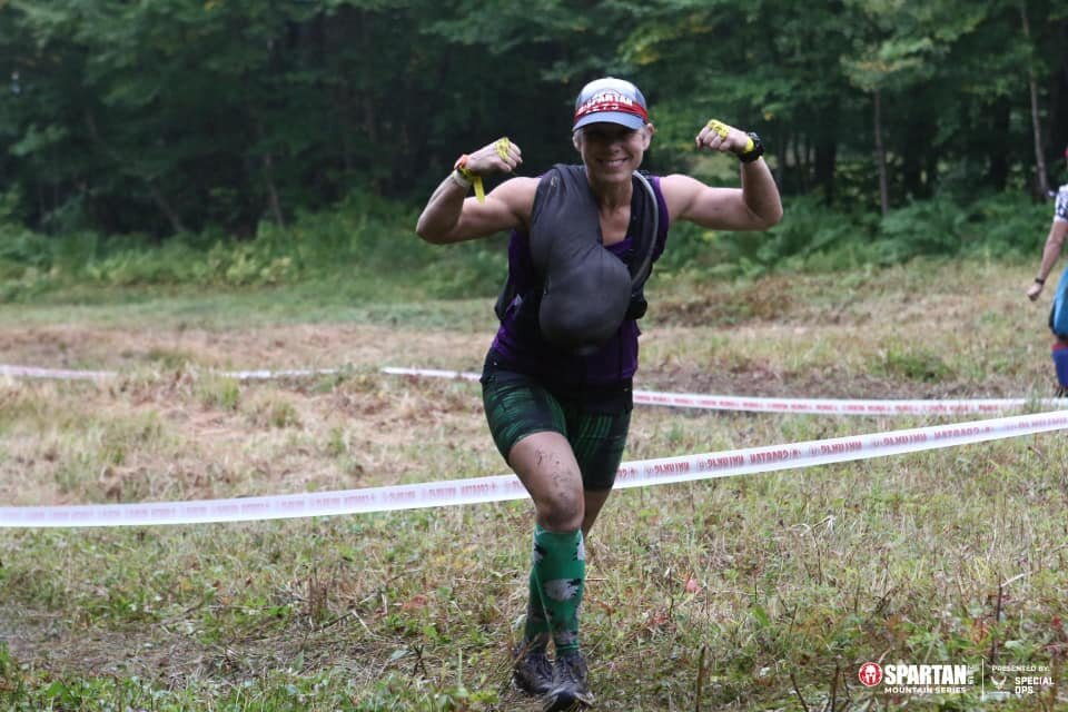 One of the sandbag carries that we had in Killington. The heavy carries are my favorite obstacles!