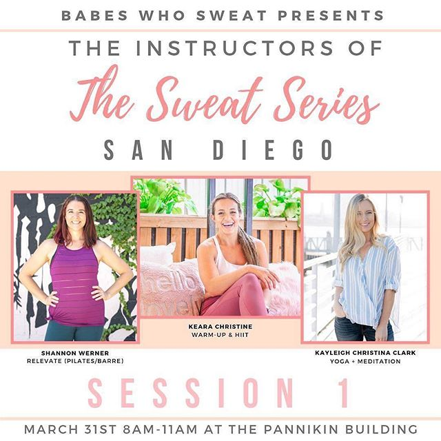 So stoked to announce that Relevate will be a part of Session 1 of @babeswhosweat's The Sweat Series — San Diego with fellow boss babes @keara.christine and @kayleigh.christina 🤗 — The event is Sunday, March 31st from 8-11am at the Pannikin Building. A little more about your instructors: @keara.christine is the Founder of @babeswhosweat and the ultimate curator of community. She specializes in quick, yet effective HIIT workouts to get you out of your comfort zone and feeling good in your body! — @shannon.werner is the creator of @relevate.life, a turbocharged movement experience that incorporates the best of Cardio, Barre, Pilates, and Yoga. She started Relevate to share her wild passion for movement, music, and community. Her powerhouse classes take you on a journey that not only deeply challenges your body, but also empowers your mind and uplifts your spirit. — @kayleigh.christina is the co-founder & COO of @clearstemskincare as well as a holistic nutritionist, yoga instructor, and co-host of the podcast Balancing Your Hustle. She specializes in tech neck corrective stretches, digestive reset, facial yoga & meditation. — Each instructor will teach for 20-30 min and everything will be for all fitness levels! We are over half way SOLD OUT so be sure to grab your tickets over on the @babeswhosweat page before they're gone! . . . . . #babeswhosweat #thesweatseries #sandiegomeetup #sweatonceaday #thesweatlife #fitlife #fitnessjourney #girlboss #sandiegoblogger #bossbabes #sweatfriends #fitfriends #fitandhealthy  #livewell #fitness #strongereveryday #fitnessblogger #sandiegofitness #healthylifestyle #fitspo #healthy #fitfluential #fitnessmotivation #fitfam #communityovercompetition #collaborationovercompetition #sdfitness #sweatsesh #relevate