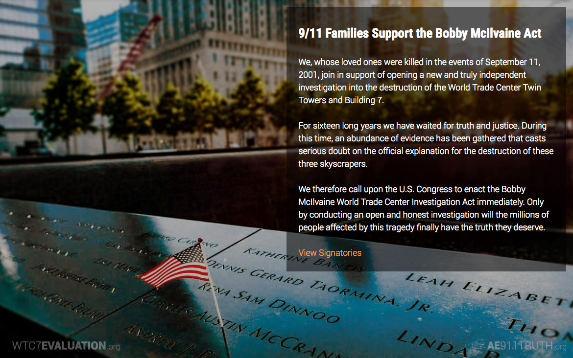 Started the Bobby McIlvaine 9/11 Family Petition   April 2018