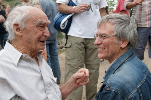 Richard Register (right) with Paolo Soleri © Richard Register