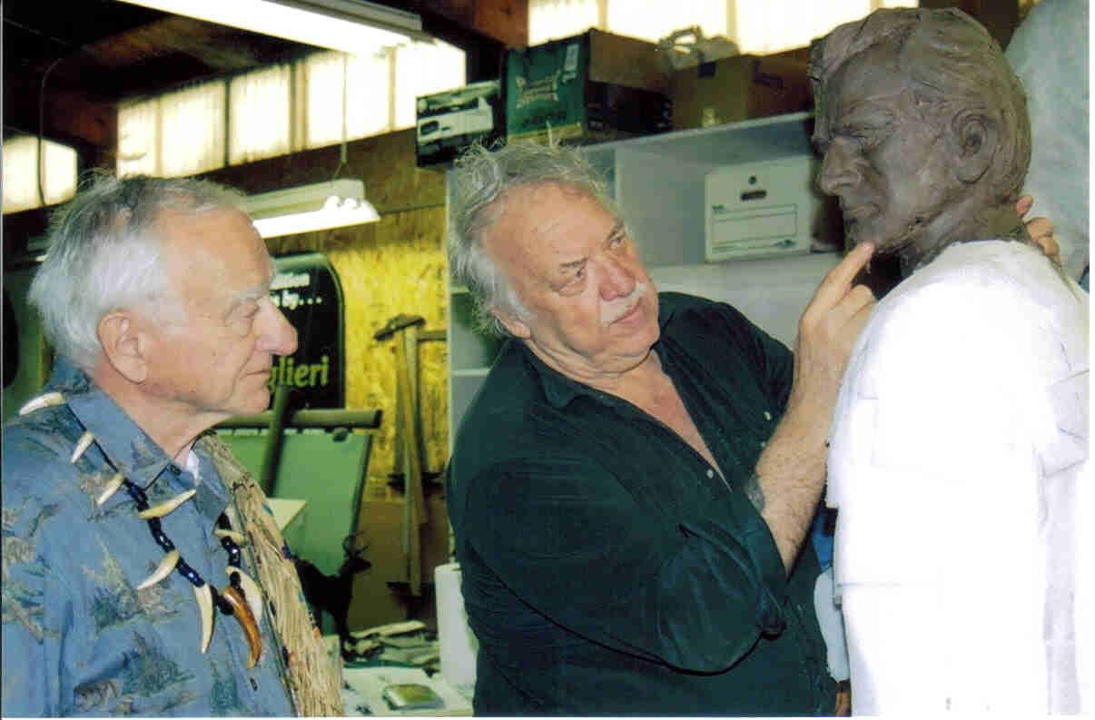 Wilbur E. Ternyik and Lorenzo Ghiglieri reviewing progress on the bronze, March, 2005