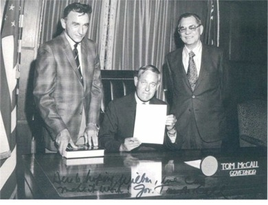 """Photo of Wilbur E. Ternyik with Governor Tom McCall and Al Flegel, 1971,creating Oregon Coastal Conservation & Development Commission OCCDC). Governor McCall wrote on the bottom of the photo: """"Here is hoping, Wilbur, we can make it work! Gov. Tom McCall."""""""