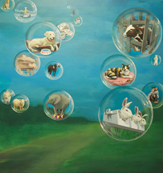 "Painting ""Bubble Series: Separate but Not Equal"" by Jane O'Hara"