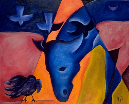"""Compassion Arts & Culture and Animals Festival at Symphony Space 2017, painting """"Encounter"""" by Cyrus Mejia"""