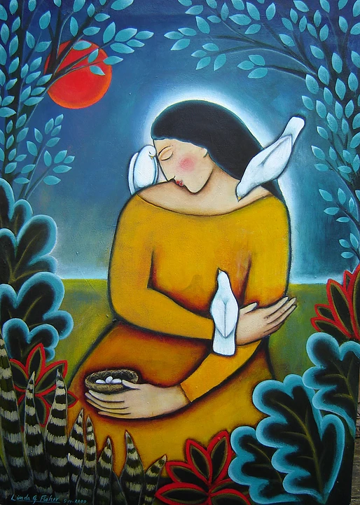 """Compassion Arts Festival 2015 painting """"Red Moon & Women with 3 Doves by Linda G. Fisher"""