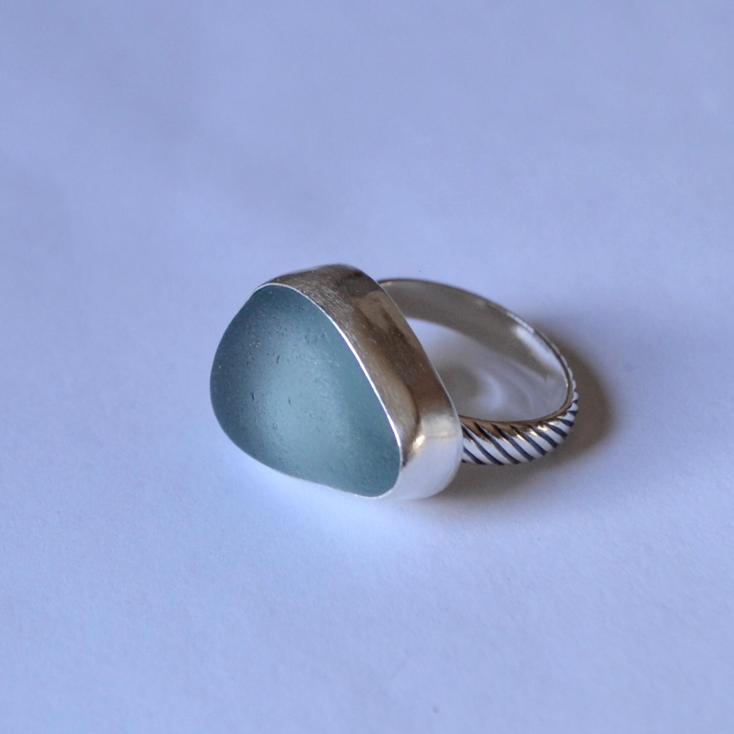 Sterling Silver Bezel Aqua Sea Glass Ring