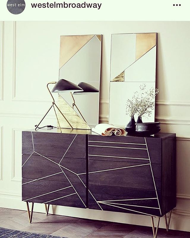 Thank you West Elm Broadway for sharing our #brassinlaydresser in glamourous ebony and mixed material Infinity mirrors!@westelmbroadway @westelm #regram #freetrade #geometric #roarandrabbit @mitzie33 @wendywurtzburger #livingwithart #holidays #homedecor #countdown to one year anniversary