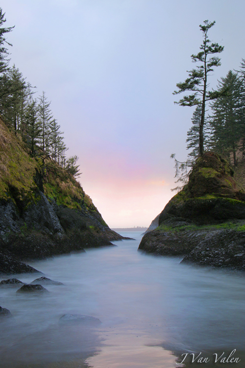 sunset in a secluded cove