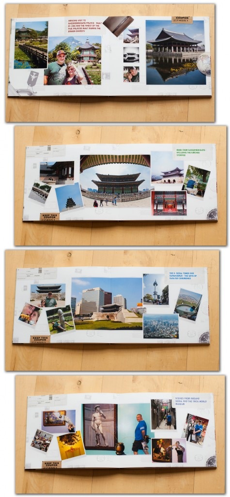 the next several layouts feature all the sights and adventures in Seoul - one page even has a photo taken from the N Seoul Tower, and we circled our hotel and Gyeongbokgung Palace in the distance