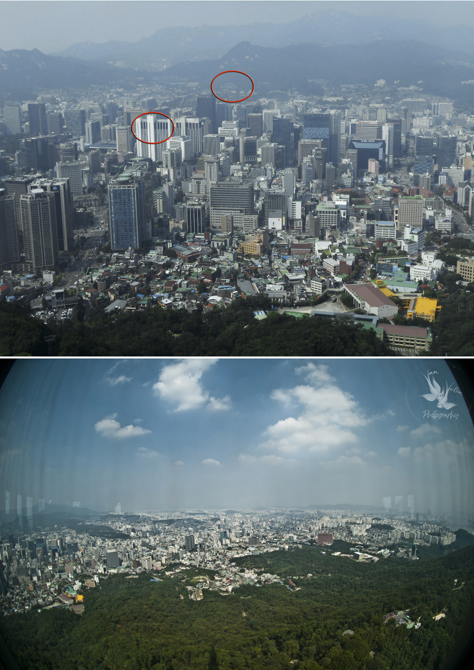 our hotel in one circle, the Palace in the other, and some of the sweeping, never-ending views of Seoul