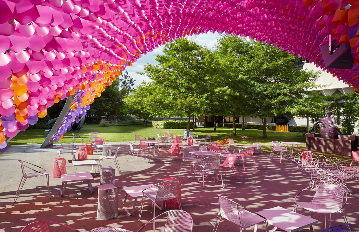 The NGV's 2015 Pavilion placed in the gardens of the building serving up food, coffee and the 5pm Aperol Spritz  (image viaThe Design Files)
