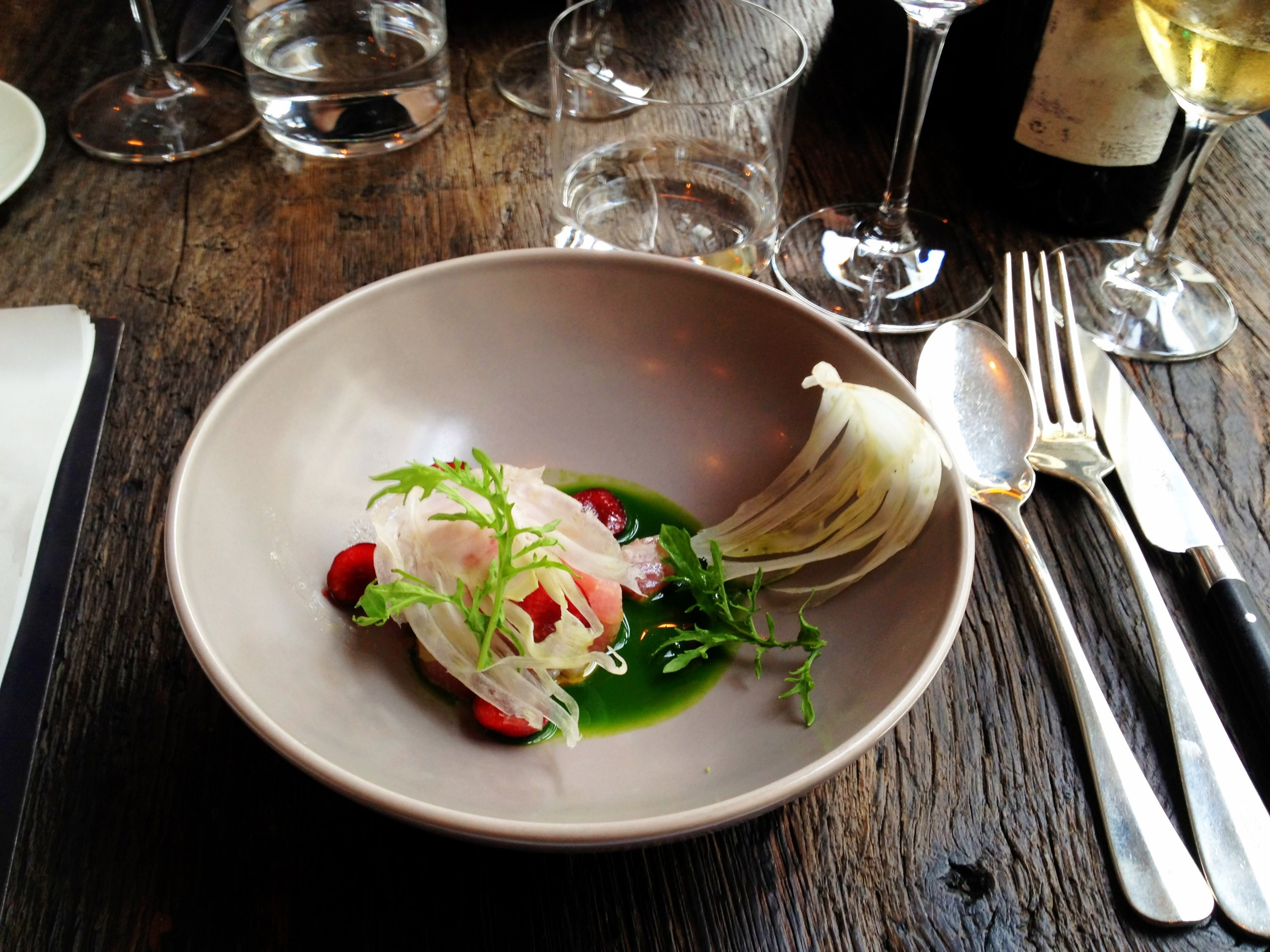 Baby tuna tartare in a cold parsley fennel soup, with shaved baby fennel and cherries (image  via Diane A Broad )